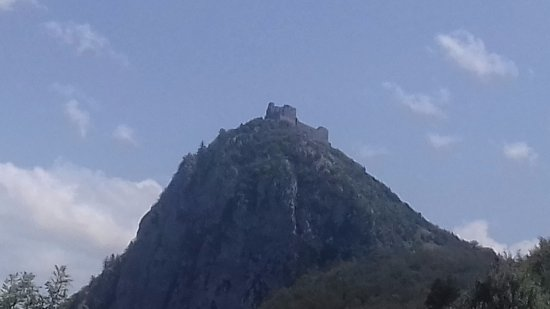 Montsegur, France: Road up - that's it on top of that hill, yes up there