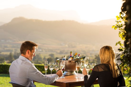 Enjoy breath-taking views of the Franschhoek Valley from the Haute Cabrière Tasting Room