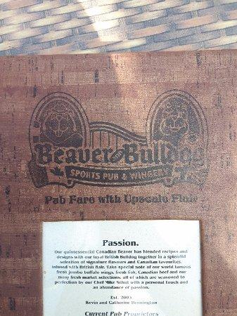 Beaver and Bulldog Sports Pub and Wingery: menu