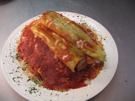 Rural Valley, PA: Stuffed Banana Peppers Over Spaghetti