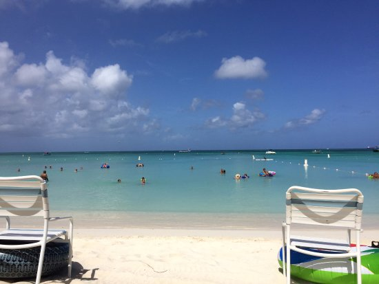 Marriott's Aruba Surf Club: View from our front row palapas