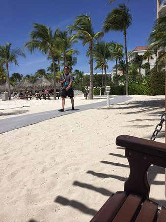 Marriott's Aruba Surf Club: View from swings on beach