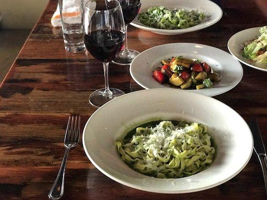 Oenotri: Our homemade pasta and pesto.