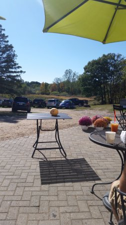 Saint Johns, MI: Cider and donut patio and overlooking the pumpkin patch.