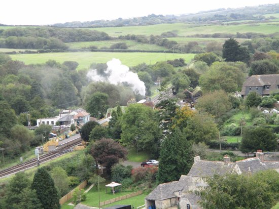 Corfe Castle, UK: Steam train as viewed from the castle