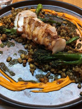 Garthmyl, UK: Monkfish, carrot puree, spiced barleyand lentils, garam masala dressing, tender stem broccoli