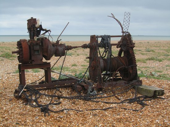 """Lydd-on-Sea, UK: a wonderful """"work of art"""" on Dungeness beach (a rusting winding engine!)"""