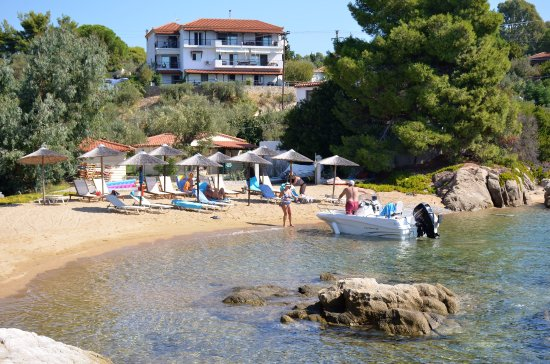 Kolios, Greece: Private Beach with Apartments in the background