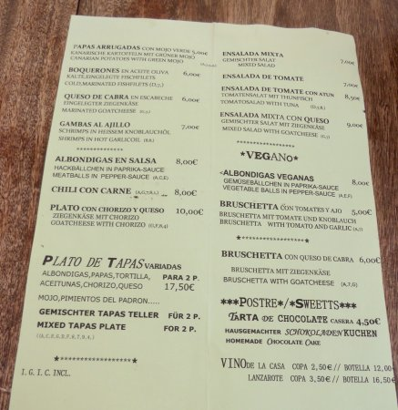 la Galeria: The menu