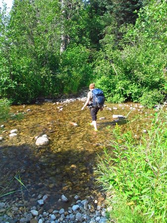 Riding Mountain National Park : Crossing a creek on Ochre River Trail.