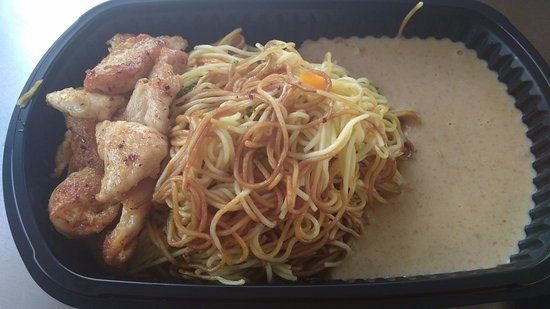 Walton-On-Thames, UK: Chicken Satay with Noodles and peanut sauce