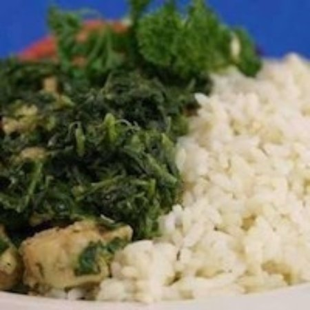 Capitol Heights, MD: Spinach & chicken with plain rice