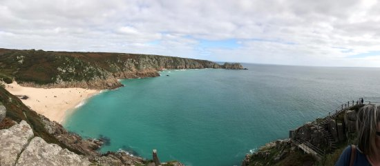 Perranporth, UK: Porthcurno Beach from the Minack Theatre