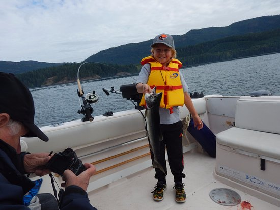 Campbell River, Canada: Happiest and proudest 9 year old fisherman I have witnessed