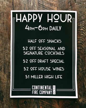 The Continental Fire Co: Happy Hour Specials