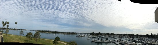 The Dana on Mission Bay: This is a view from the patio of the King Suite on water's edge.
