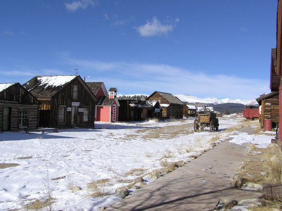 Fairplay, CO: Early snow on Main Street in South Park City Historical Museum