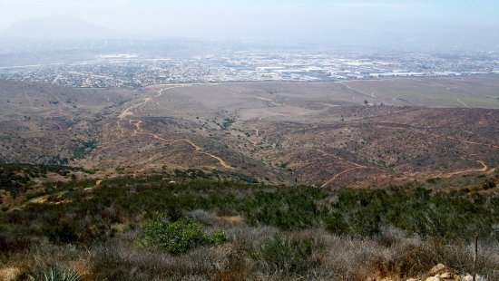 Jamul, CA: Looking south from BLM Otay Mountain Wilderness Area to US/Mexico border and Tijuana.
