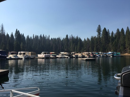 Shaver Lake, CA: The Marina pulling out on the lake.