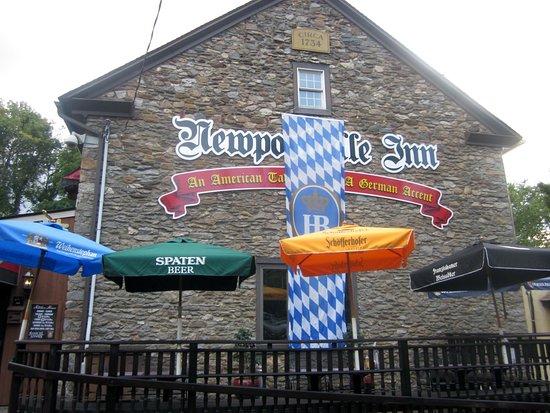 Levittown, PA: German beer banner adorns 1734 fieldstone building
