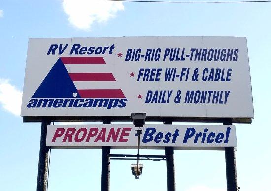 Road Signage - Picture of Americamps RV Resort, Ashland - Tripadvisor