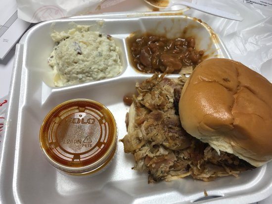 Pascagoula, MS: Pulled pork plate comes with 2 sixes of your choice. Add a large drink and it's under $12!