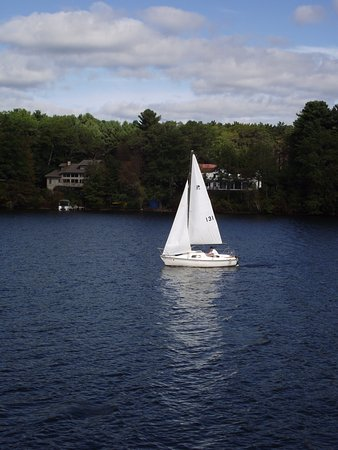 MA - WEBSTER – LAKE WEBSTER #4 – SAILBOAT TRYING TO CROSS IN FRONT OF SHIP'S BOW