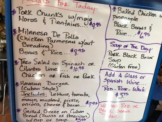 West Jefferson, NC: Choco flan black bean soup, fried plantains and menu. . .