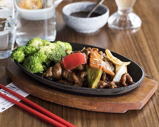 Ka-Chin: Mongolian Beef - Sliced beef, stir-fried with vegetables in a savoury brown sauce.