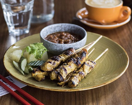 Richmond, Australia: Chicken Satay Skewer – Grilled Marinated Chicken Breast Skewers served with Satay Sauce on side.