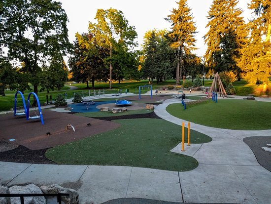 Accessible playground, the central attraction at Les Gove Park.