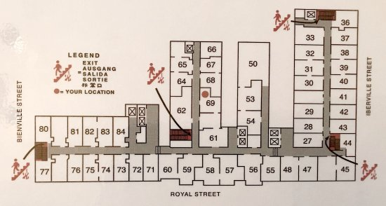 Hotel Monteleone: Rooms ending in 27–33, 53–54, 61, 67–69 have airshaft view.