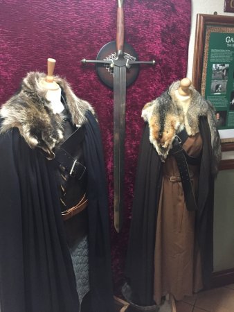 Strangford, UK: Game of Thrones clothing on the way to the loo.