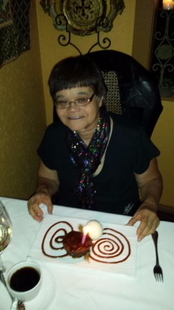 Port Moody, Kanada: Birthday carrot cake served with a candle