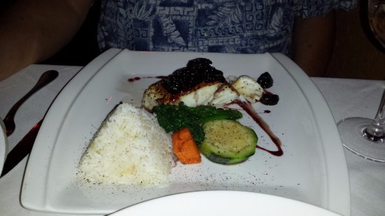 Port Moody, Canada: His meal- Halibut with veggies & rice.