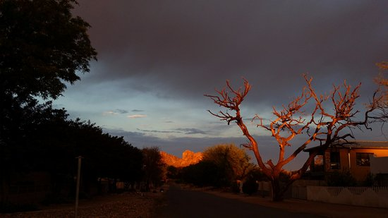 Sunset while driving through town - Okahandja, Namibia