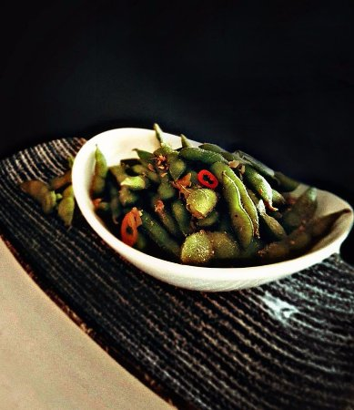 Jeffreys Bay, South Africa: Edamame beans with ginger, chili & crushed salt