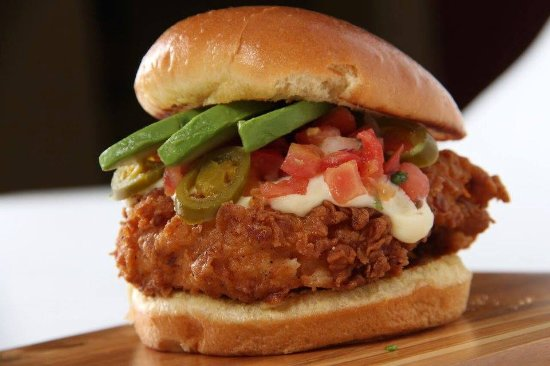 Johns Creek, GA: Fried Chicken Sandwich with Queso, Jalepenos and Avocado