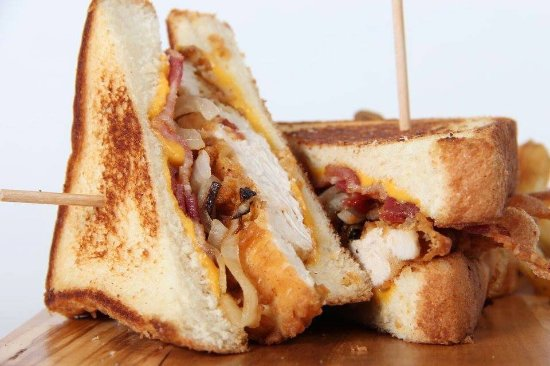 Johns Creek, GA: Grilled Cheese with Fried Chicken and Grilled Onions
