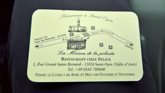 Saint-Oyen, Italien: Biglietto da visita...