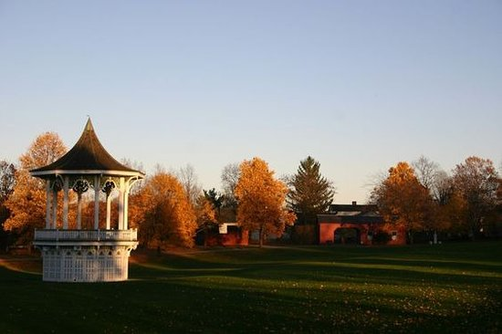 Mumford, NY: The bandstand and tollhouse on a late fall afternoon.
