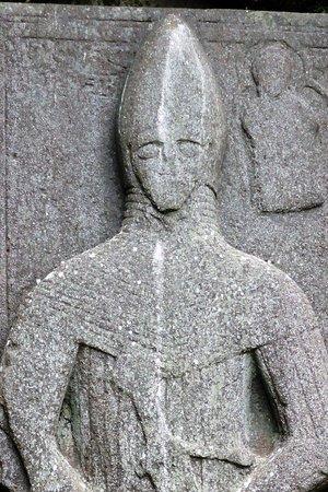 Port Ellen, UK: Pierre tombale de chevalier (détail)