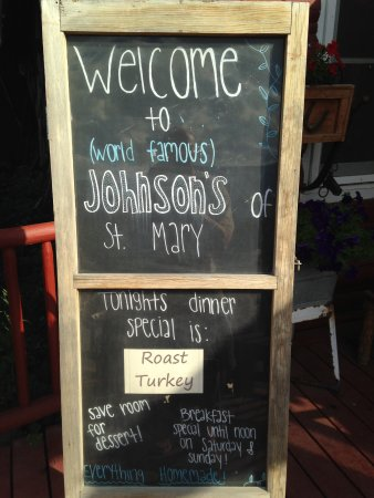 Saint Mary, MT: Chalkboard Greets You Listing the Daily Special