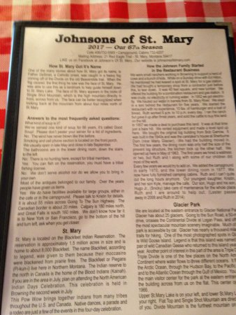 Saint Mary, MT: The Johnson's Story -- fun reading on the menu