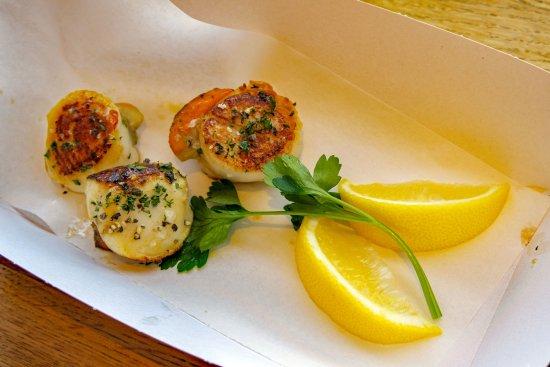 Stein's Fish & Chips: Scallops starters, £2.50 each.