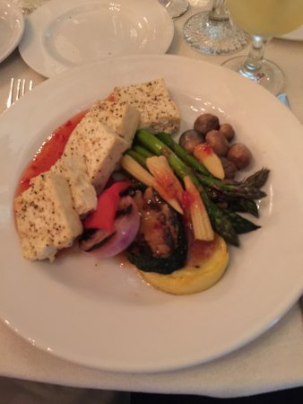 Cork Factory Hotel: Vegan meal (tofu), provided at a wedding reception.