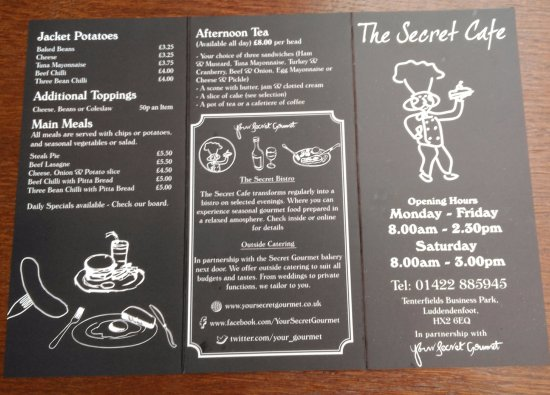 Sample Menu  Picture Of The Secret Cafe Luddenden Foot  Tripadvisor