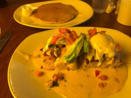 Kerbey Lane Cafe Central: Texas Eggs Benedict w/ Blueberry Pancake