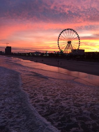 Myrtle Beach Skywheel At Sunset From Pier 14