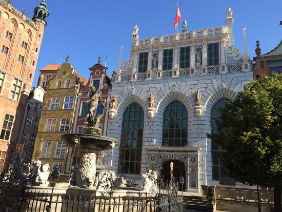 Danzica, Polonia: Cour d'Artus et fontaine Neptune